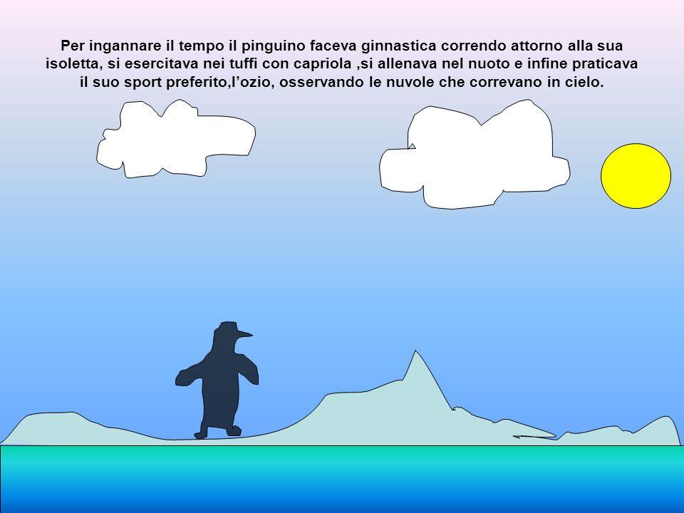 Per ingannare il tempo il pinguino faceva ginnastica correndo attorno alla sua isoletta, si esercitava nei tuffi con capriola ,si allenava nel nuoto e infine praticava il suo sport preferito,l'ozio, osservando le nuvole che correvano in cielo.