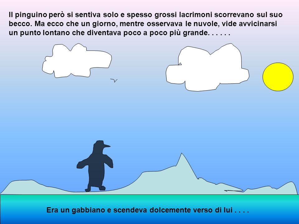 Il pinguino però si sentiva solo e spesso grossi lacrimoni scorrevano sul suo becco. Ma ecco che un giorno, mentre osservava le nuvole, vide avvicinarsi un punto lontano che diventava poco a poco più grande. . . . . .