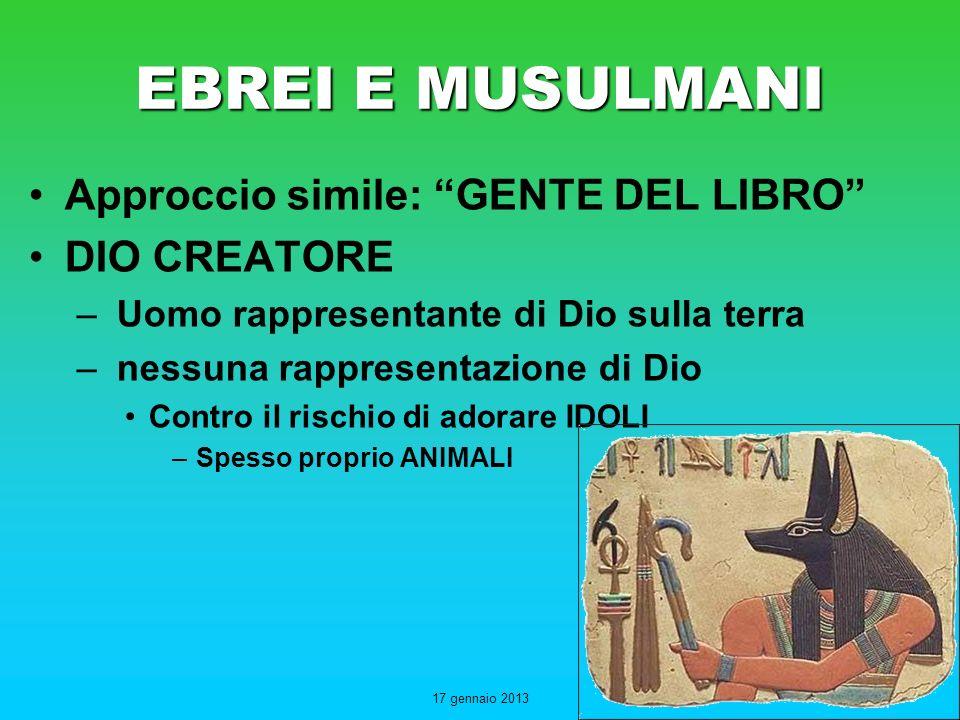 EBREI E MUSULMANI Approccio simile: GENTE DEL LIBRO DIO CREATORE
