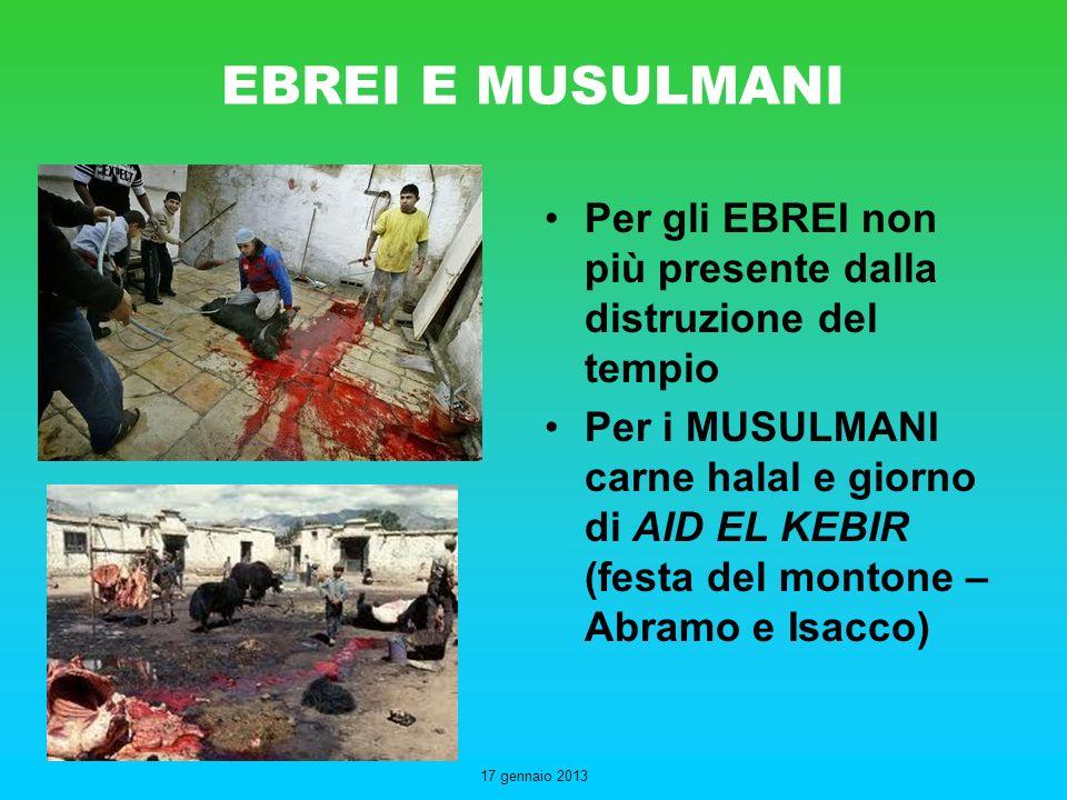 EBREI E MUSULMANI Per gli EBREI non più presente dalla distruzione del tempio.