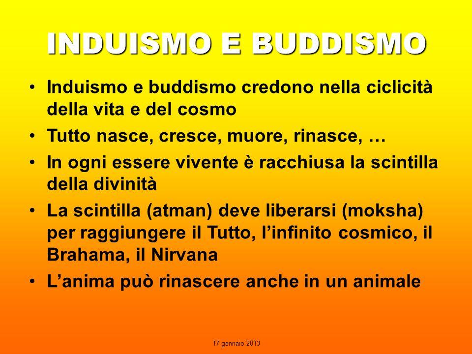 INDUISMO E BUDDISMO Induismo e buddismo credono nella ciclicità della vita e del cosmo. Tutto nasce, cresce, muore, rinasce, …