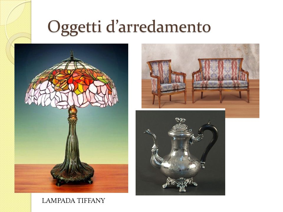 Lo stile liberty e la belle poque ppt scaricare for Oggetti arredamento