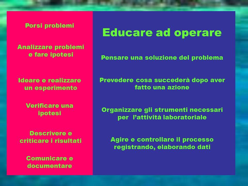 Educare ad operare Porsi problemi Pensare una soluzione del problema