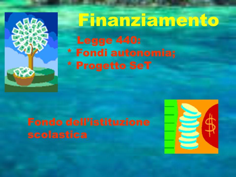 Finanziamento Legge 440: * Fondi autonomia; * Progetto SeT