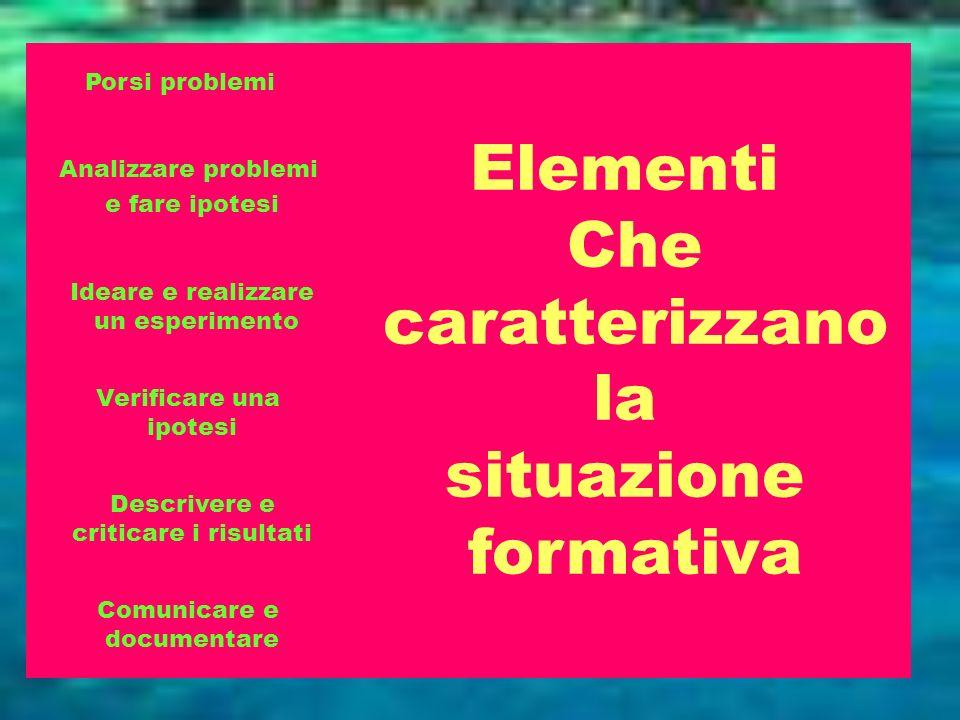 Elementi Che caratterizzano la situazione formativa Porsi problemi