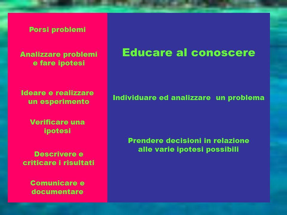 Educare al conoscere Porsi problemi Analizzare problemi e fare ipotesi