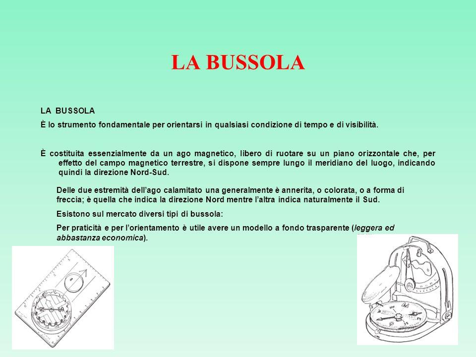 LA BUSSOLA LA BUSSOLA. È lo strumento fondamentale per orientarsi in qualsiasi condizione di tempo e di visibilità.