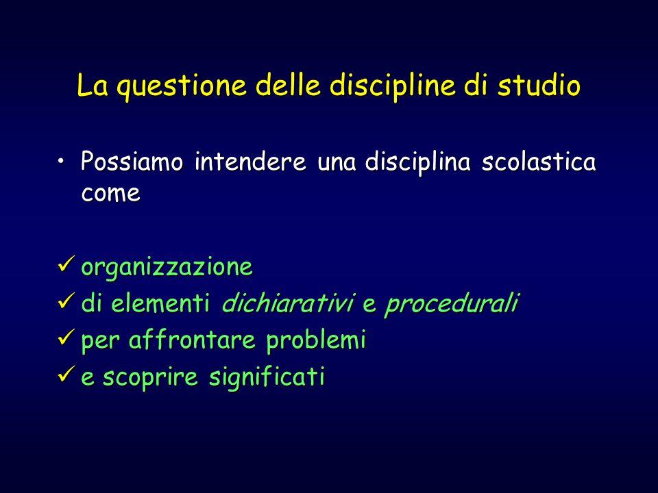 La questione delle discipline di studio