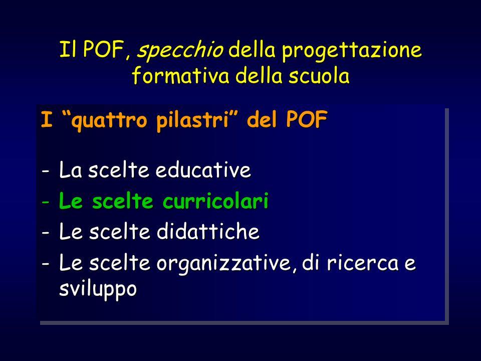 Il POF, specchio della progettazione formativa della scuola