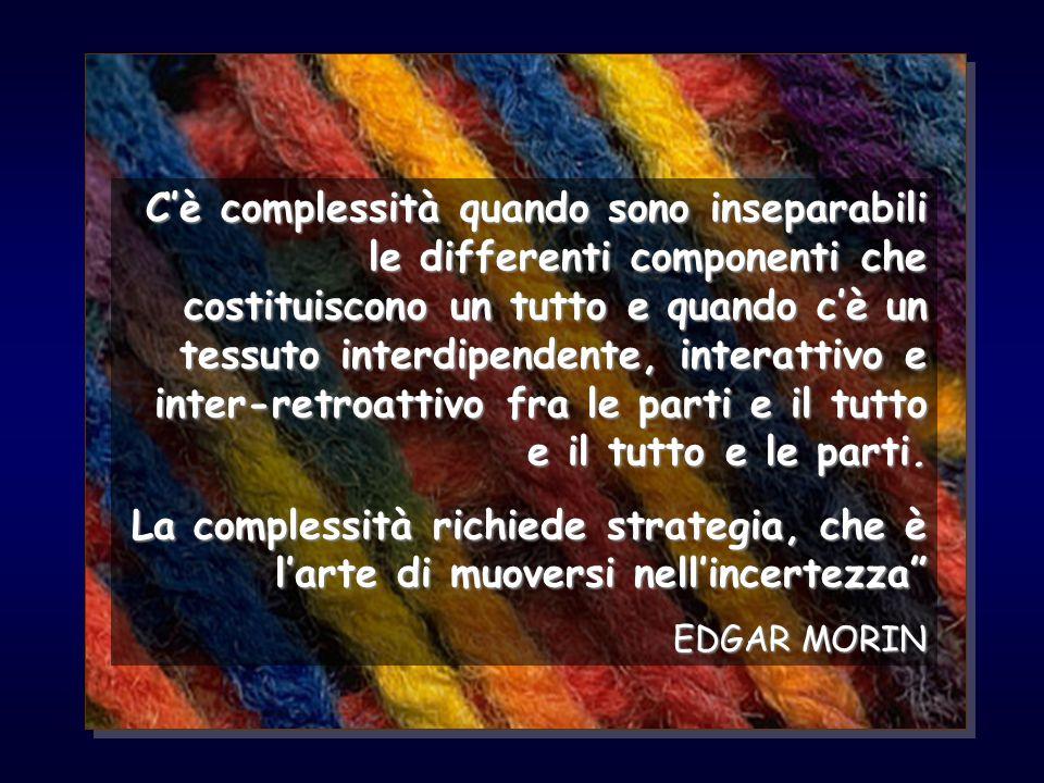 C'è complessità quando sono inseparabili le differenti componenti che costituiscono un tutto e quando c'è un tessuto interdipendente, interattivo e inter-retroattivo fra le parti e il tutto e il tutto e le parti.