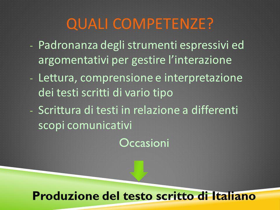 Produzione del testo scritto di Italiano