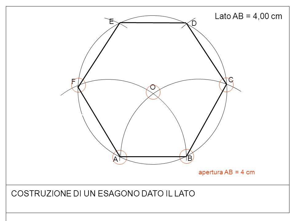 COSTRUZIONE DI UN ESAGONO DATO IL LATO Lato AB = 4,00 cm