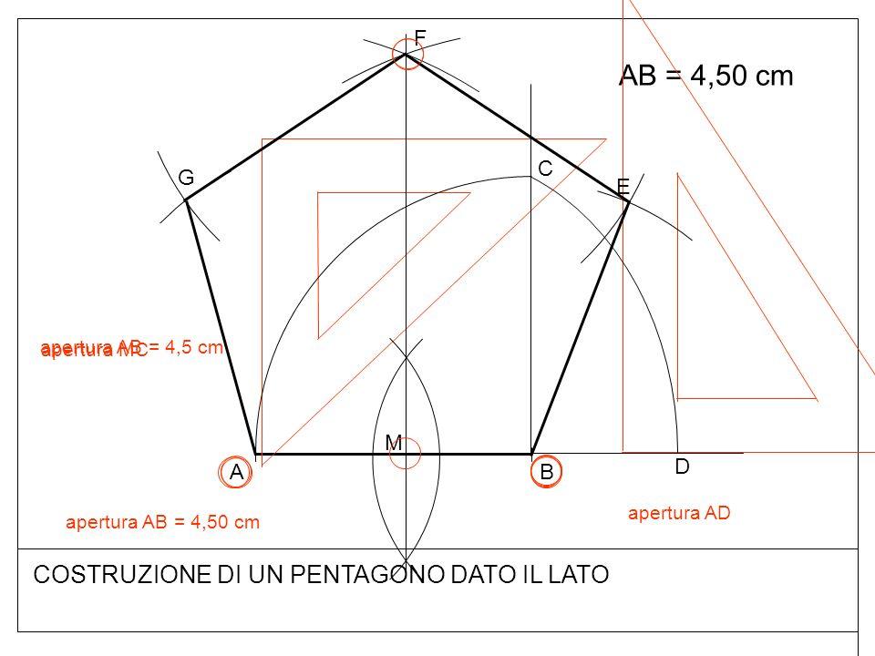 AB = 4,50 cm COSTRUZIONE DI UN PENTAGONO DATO IL LATO F C G E M D A B