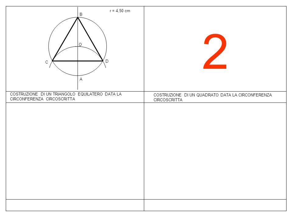 r = 4,50 cmB. 2. O. C. D. A. COSTRUZIONE DI UN TRIANGOLO EQUILATERO DATA LA CIRCONFERENZA CIRCOSCRITTA.