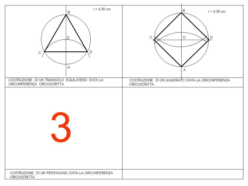 r = 4,50 cmB. B. r = 4,50 cm. O. C. O. D. C. D. A. A. COSTRUZIONE DI UN TRIANGOLO EQUILATERO DATA LA CIRCONFERENZA CIRCOSCRITTA.
