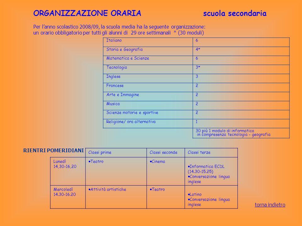 ORGANIZZAZIONE ORARIA scuola secondaria