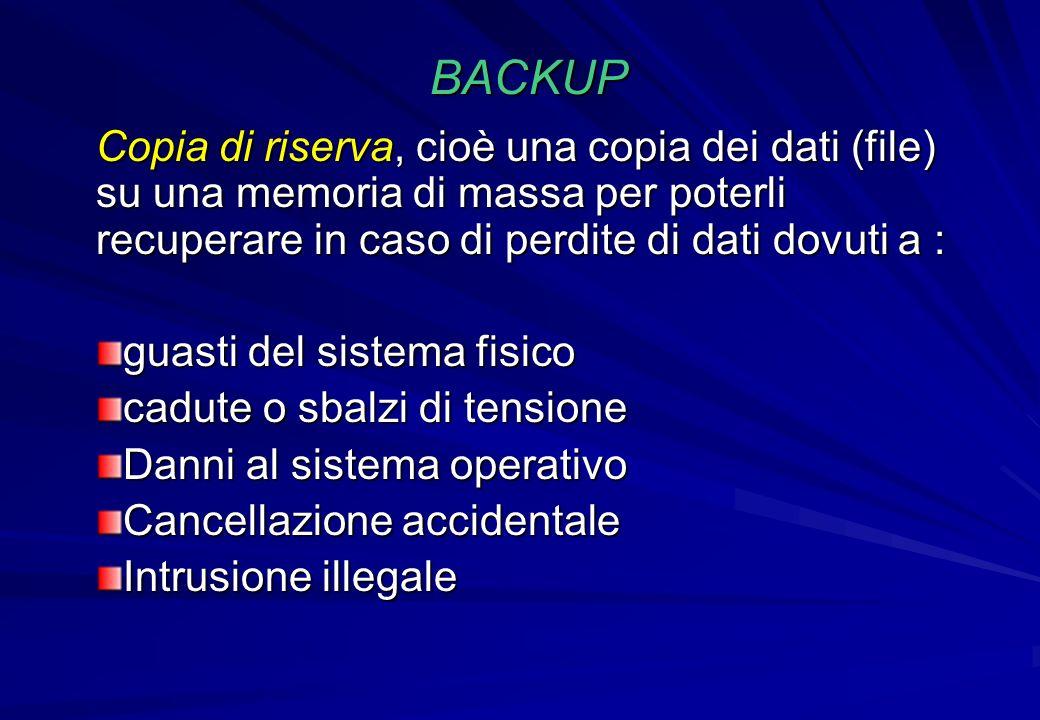 BACKUP Copia di riserva, cioè una copia dei dati (file) su una memoria di massa per poterli recuperare in caso di perdite di dati dovuti a :