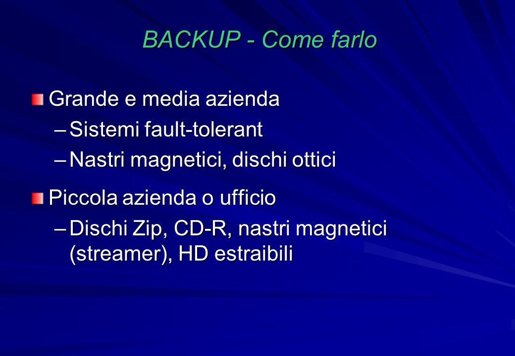 BACKUP - Come farlo Grande e media azienda Sistemi fault-tolerant