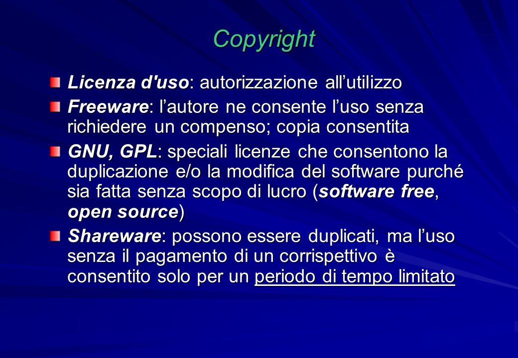 Copyright Licenza d uso: autorizzazione all'utilizzo