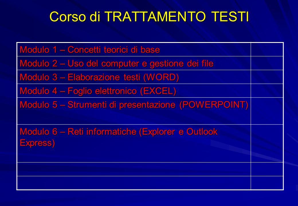 Corso di TRATTAMENTO TESTI