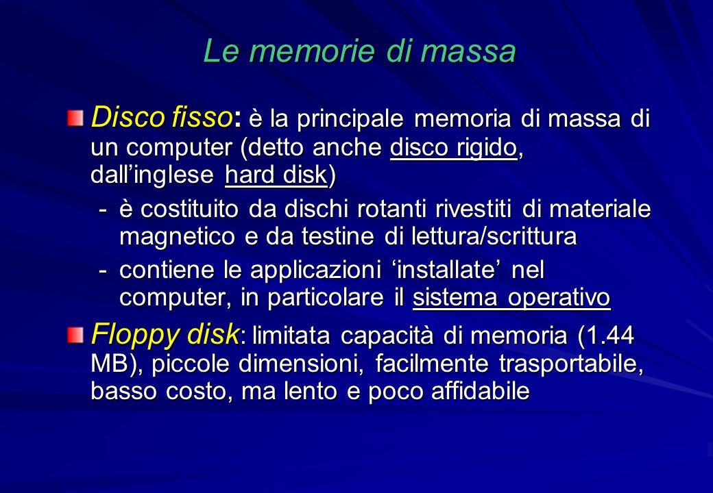 Le memorie di massa Disco fisso: è la principale memoria di massa di un computer (detto anche disco rigido, dall'inglese hard disk)
