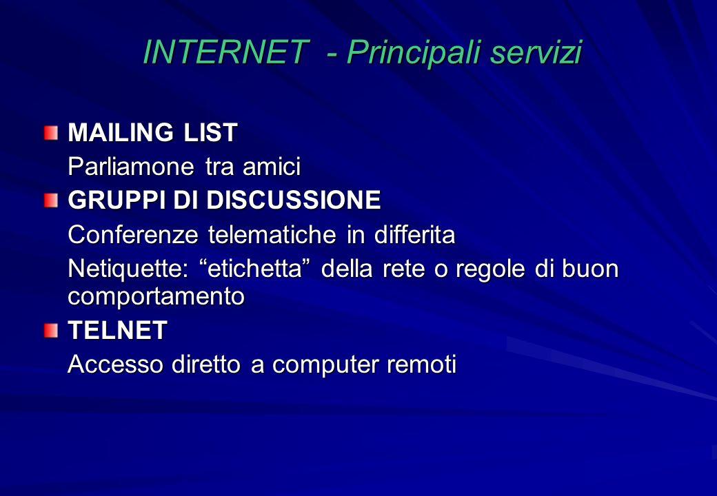INTERNET - Principali servizi