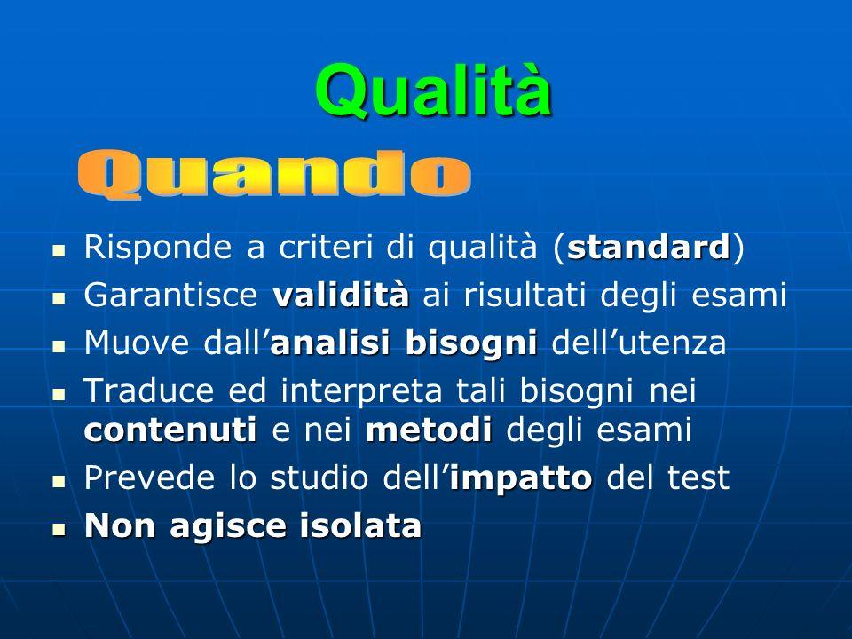 Qualità Quando Risponde a criteri di qualità (standard)
