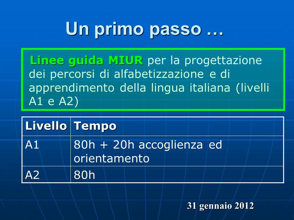 Un primo passo … Linee guida MIUR per la progettazione dei percorsi di alfabetizzazione e di apprendimento della lingua italiana (livelli A1 e A2)