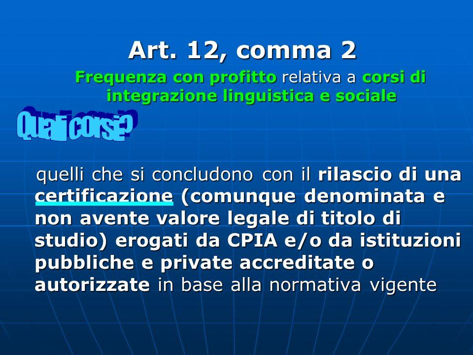 Art. 12, comma 2Frequenza con profitto relativa a corsi di integrazione linguistica e sociale.