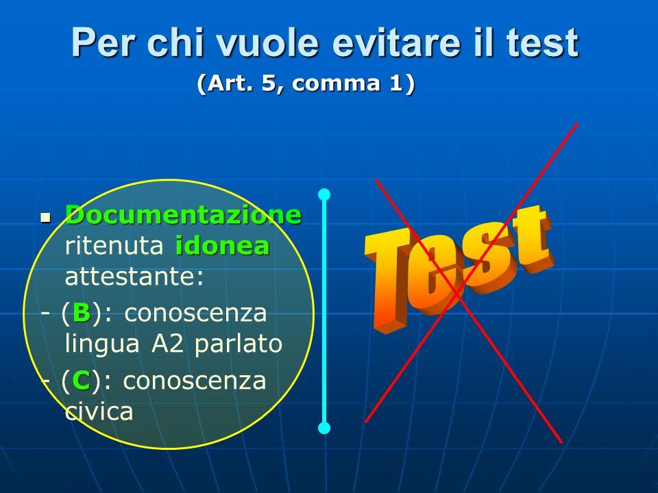 Per chi vuole evitare il test