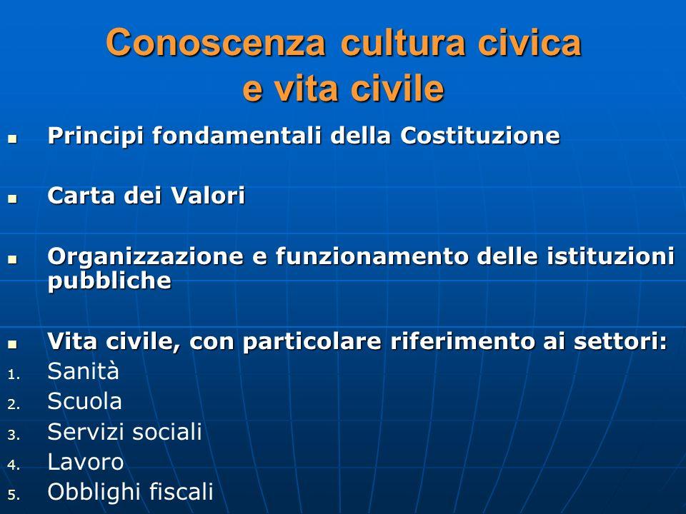 Conoscenza cultura civica e vita civile