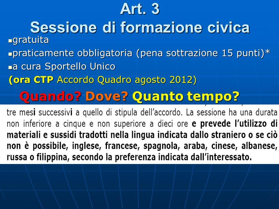Art. 3 Sessione di formazione civica