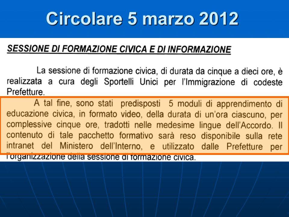 Circolare 5 marzo 2012