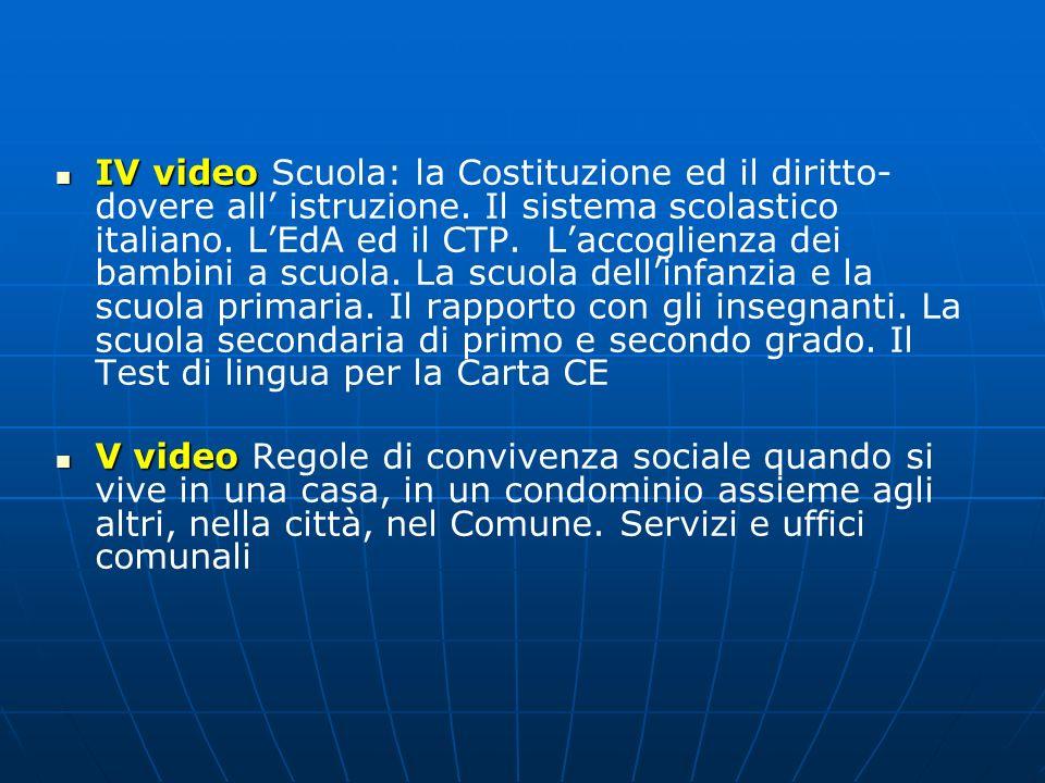 IV video Scuola: la Costituzione ed il diritto-dovere all' istruzione