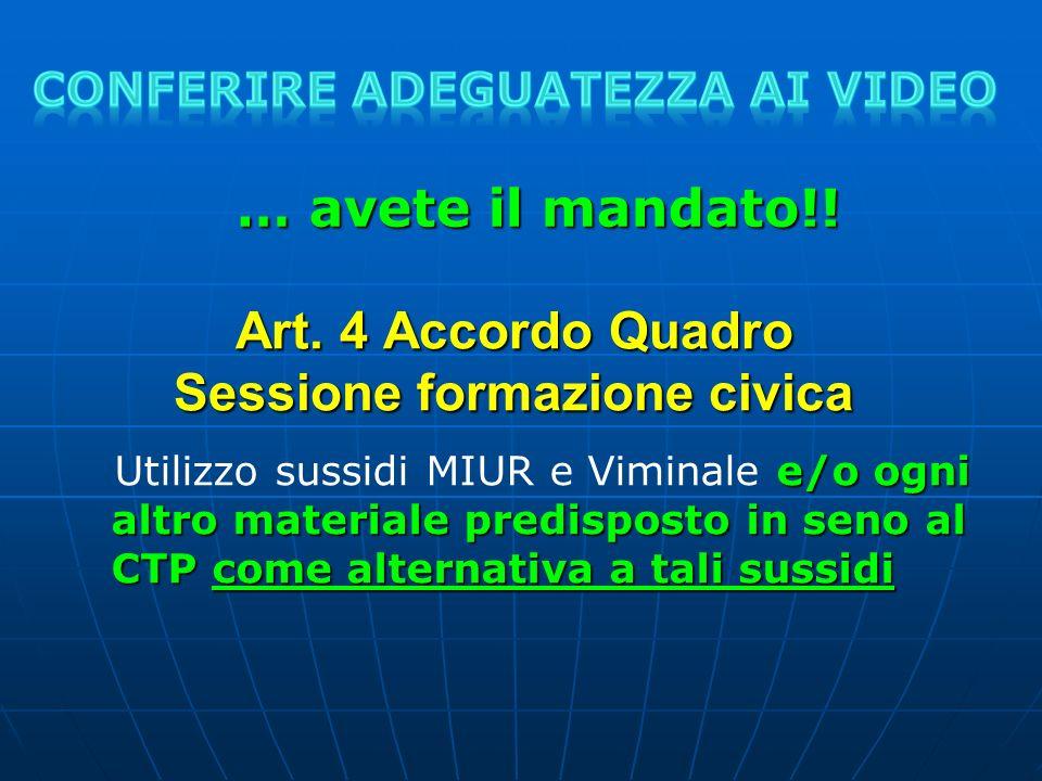 Art. 4 Accordo Quadro Sessione formazione civica