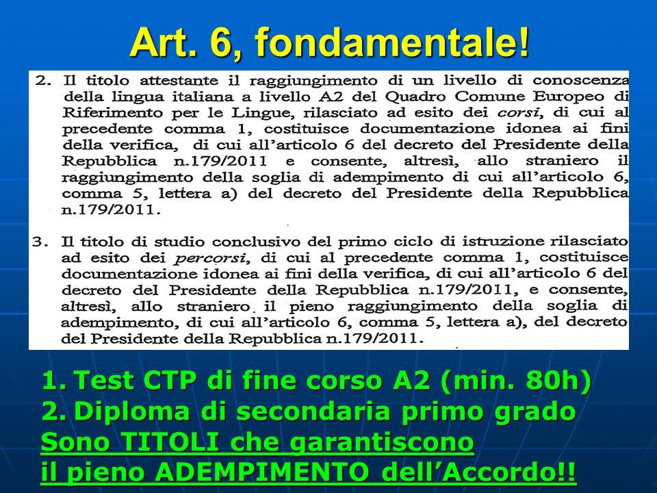 Art. 6, fondamentale! Test CTP di fine corso A2 (min. 80h)