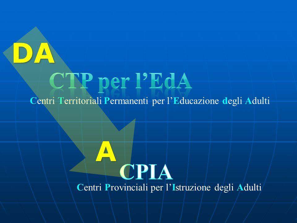 DA CTP per l'EdA. Centri Territoriali Permanenti per l'Educazione degli Adulti.