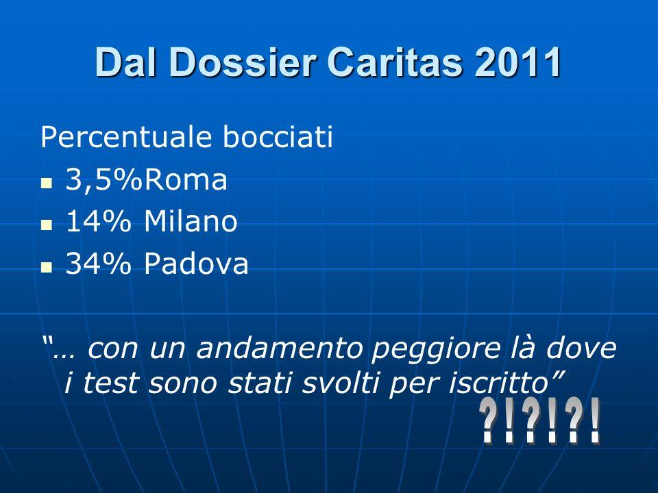 Dal Dossier Caritas 2011 ! ! ! Percentuale bocciati 3,5%Roma