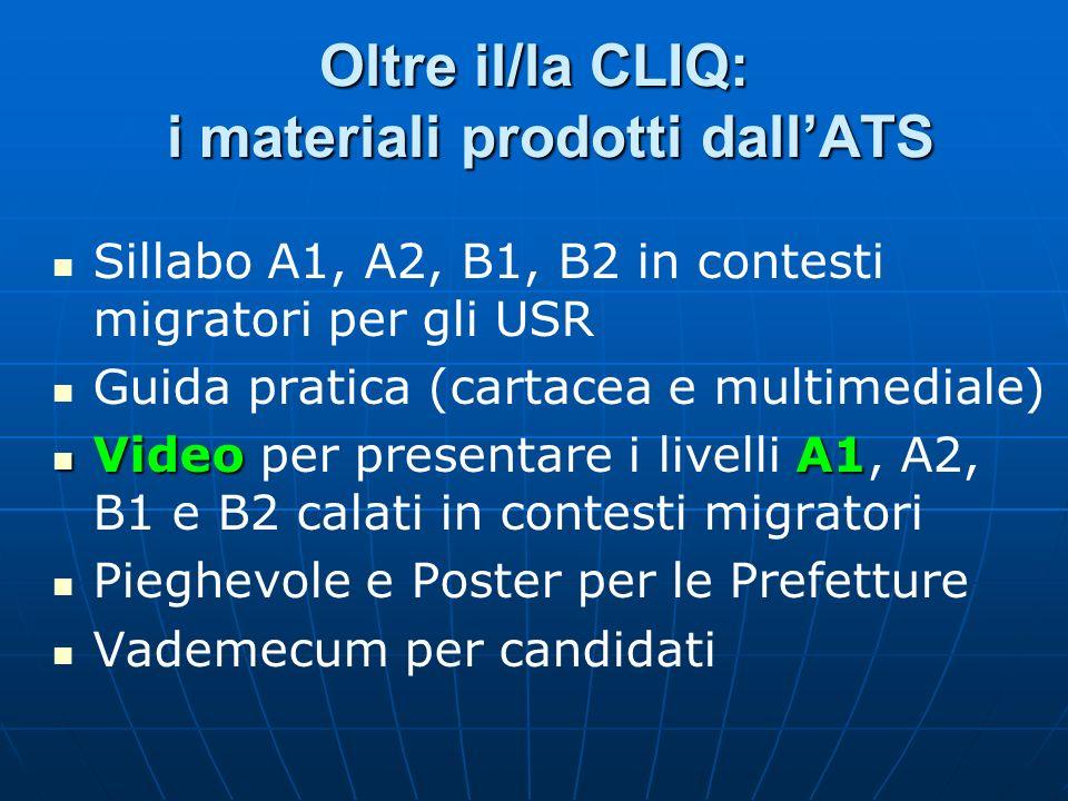 Oltre il/la CLIQ: i materiali prodotti dall'ATS