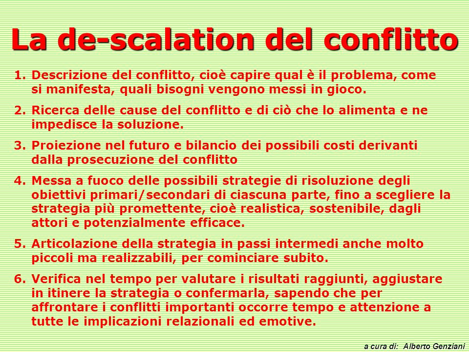 La de-scalation del conflitto
