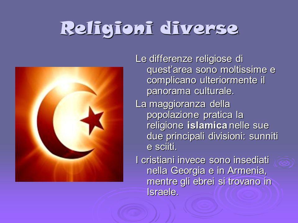 Religioni diverse Le differenze religiose di quest'area sono moltissime e complicano ulteriormente il panorama culturale.