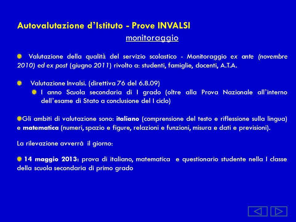 Autovalutazione d'Istituto - Prove INVALSI monitoraggio