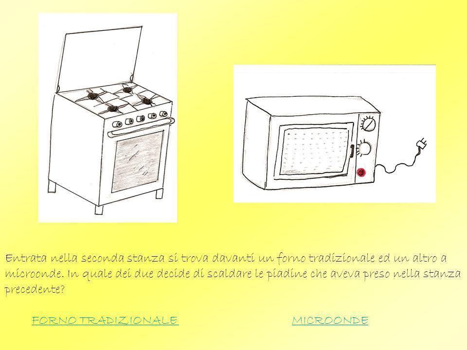 Entrata nella seconda stanza si trova davanti un forno tradizionale ed un altro a microonde. In quale dei due decide di scaldare le piadine che aveva preso nella stanza precedente