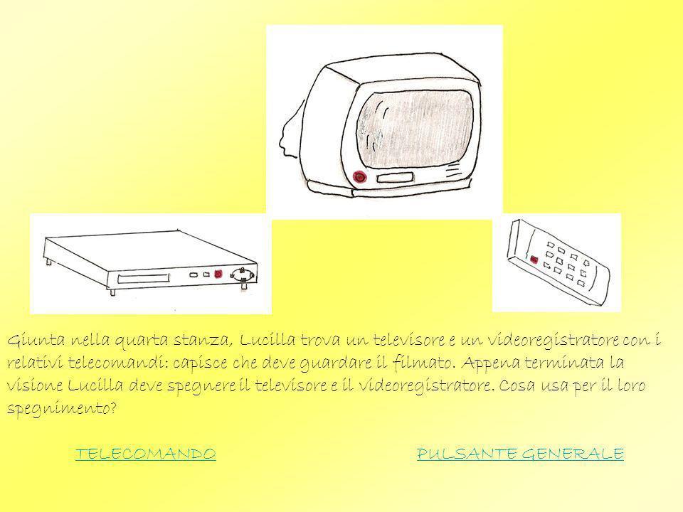 Giunta nella quarta stanza, Lucilla trova un televisore e un videoregistratore con i relativi telecomandi: capisce che deve guardare il filmato. Appena terminata la visione Lucilla deve spegnere il televisore e il videoregistratore. Cosa usa per il loro spegnimento