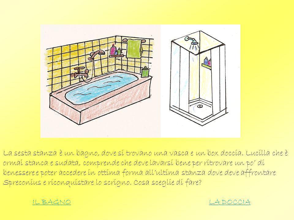 La sesta stanza è un bagno, dove si trovano una vasca e un box doccia