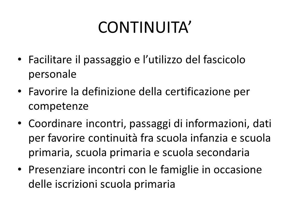 CONTINUITA' Facilitare il passaggio e l'utilizzo del fascicolo personale. Favorire la definizione della certificazione per competenze.