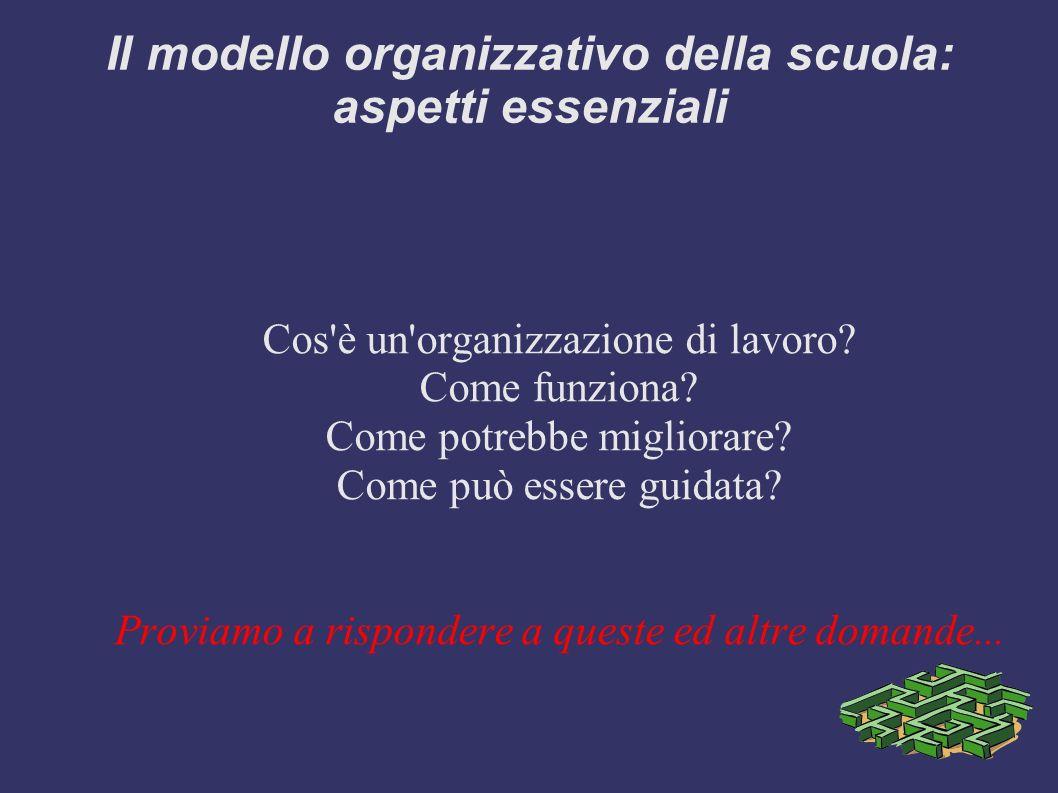 Il modello organizzativo della scuola: aspetti essenziali