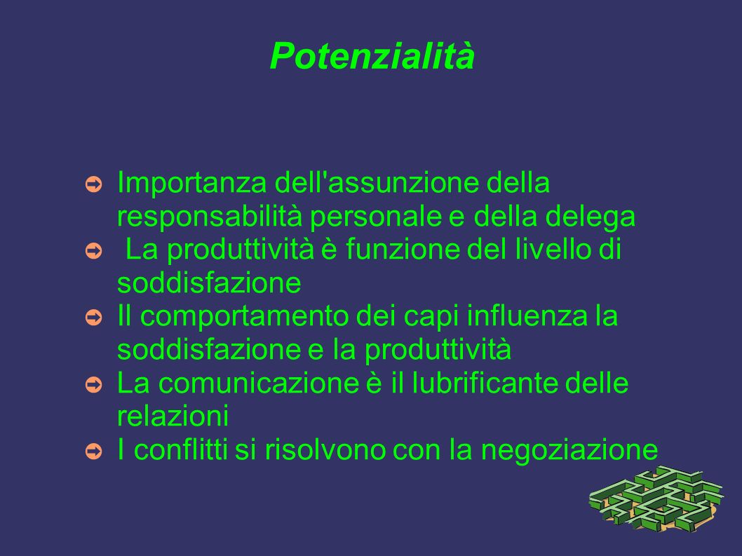 Potenzialità Importanza dell assunzione della responsabilità personale e della delega. La produttività è funzione del livello di soddisfazione.