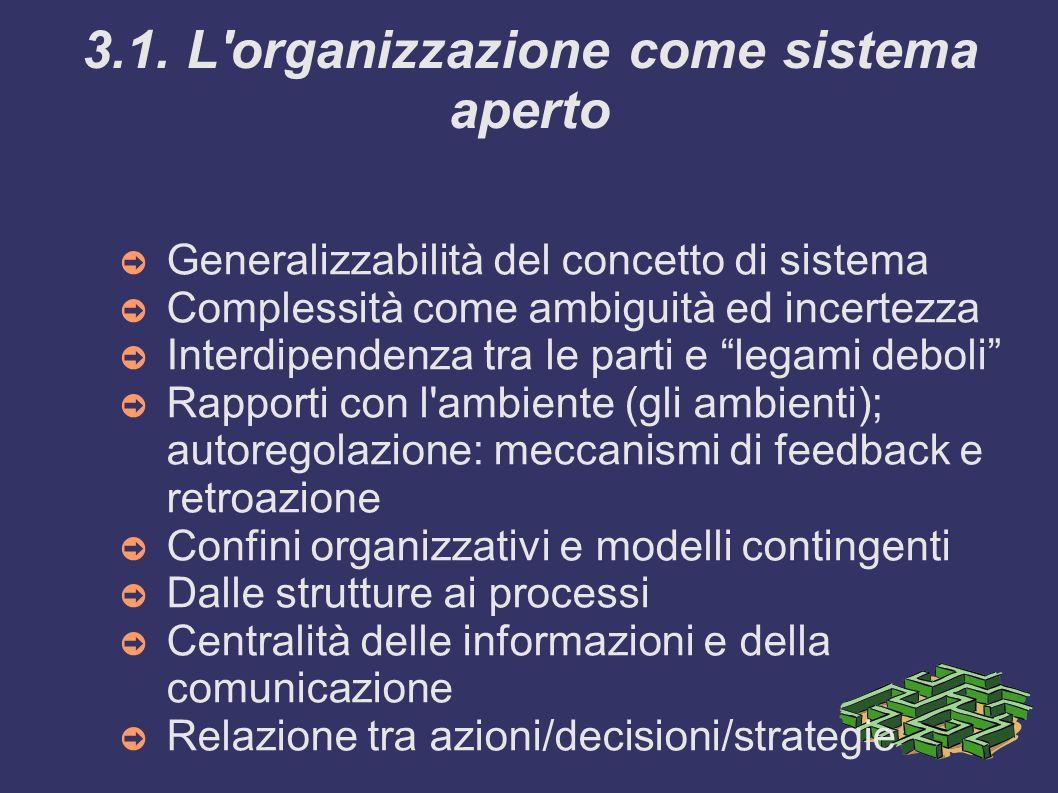 3.1. L organizzazione come sistema aperto