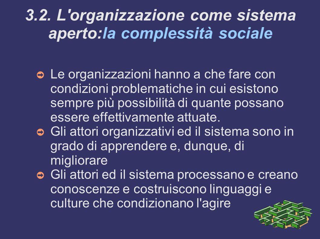 3.2. L organizzazione come sistema aperto:la complessità sociale